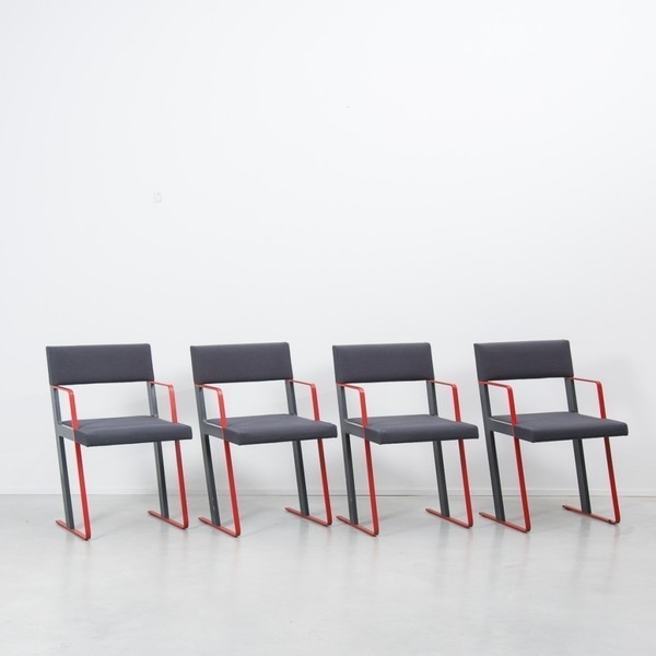 Set Of Four Dick Spierenburg Postmodern Dining Chairs photo 1