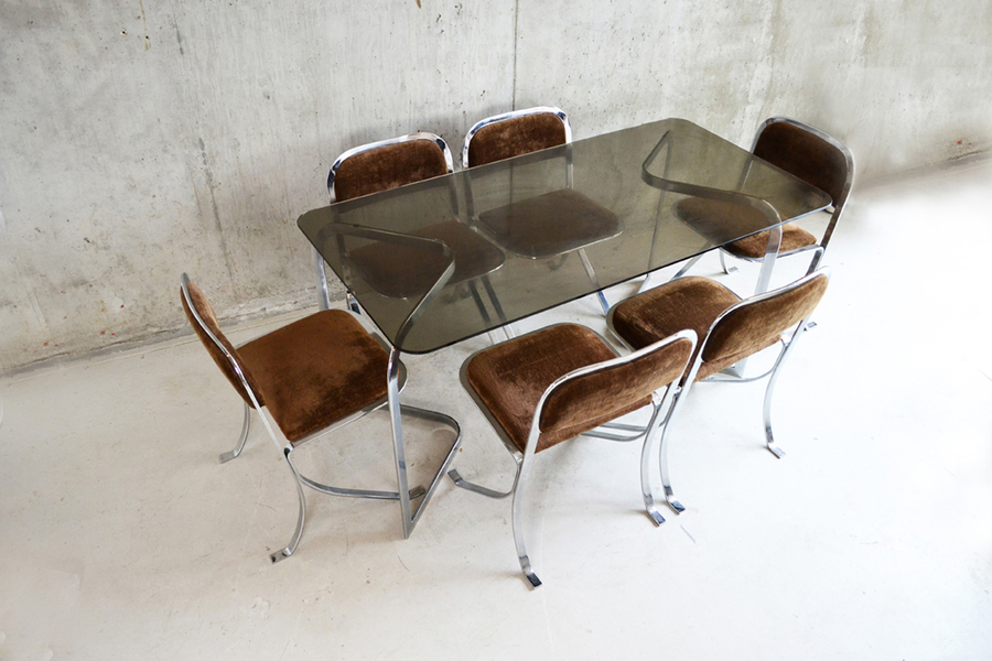Incredible 1970's French Chrome And Glass Dining Table Set With 6 Chairs