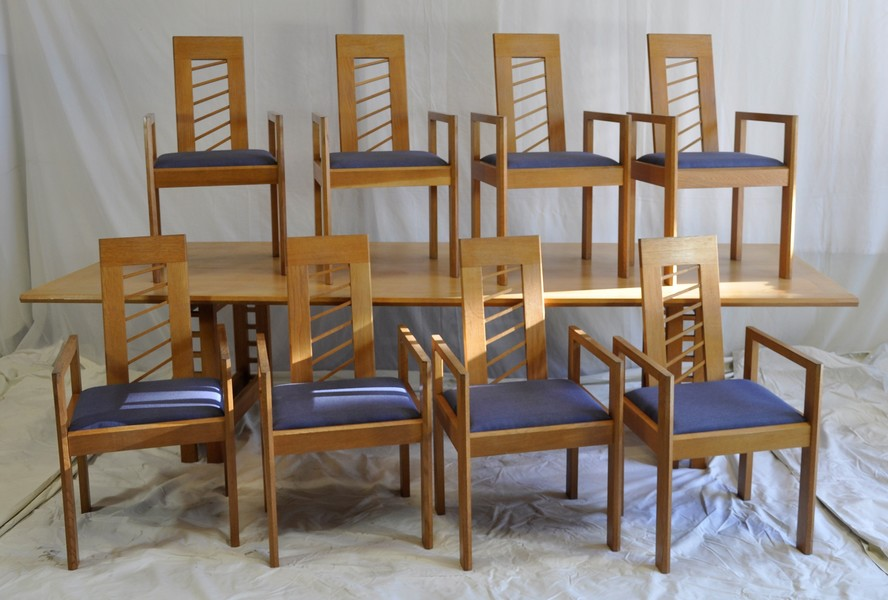 Miles Carter Solid Light Oak Dining Table With 8 Chairs