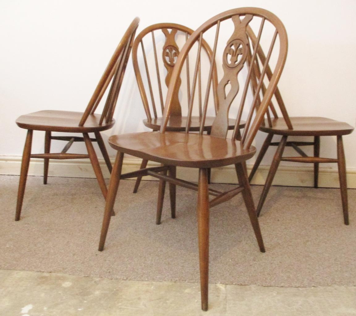 cheap for discount db933 b2526 Set 4 X Vintage Ercol Dining Chairs Elm Dark Golden Dawn Fleur De Lys  Windsor