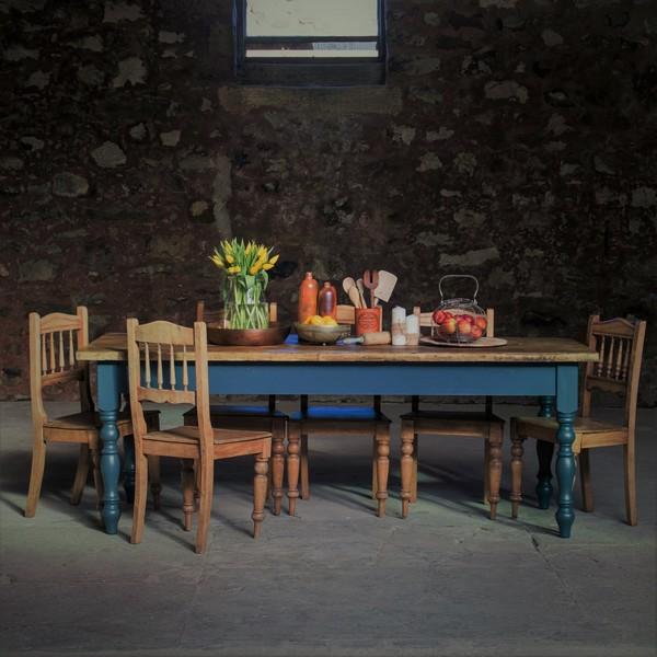 210cm/7ft Rustic Reclaimed Farmhouse Table   Handmade   Bespoke, Farrow & Ball