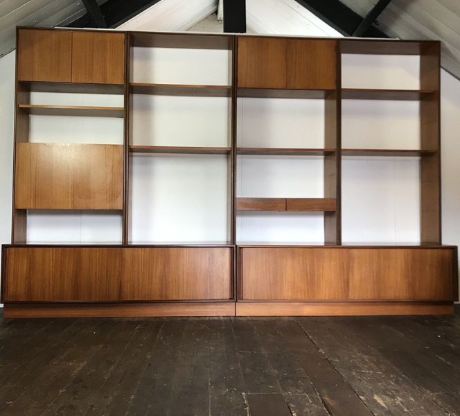 Vtg Mid Century 10ft G Plan Modular Ps Shelving System Sideboard Wall Unit