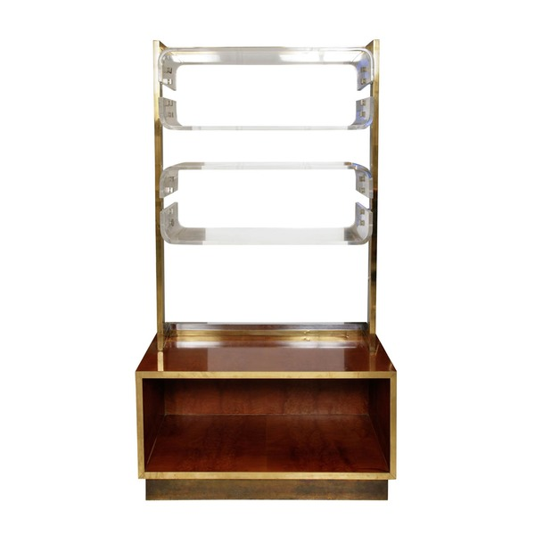 Signed Romeo Rega Brass Chrome And Lucite Bookshelf With Burl Walnut Base