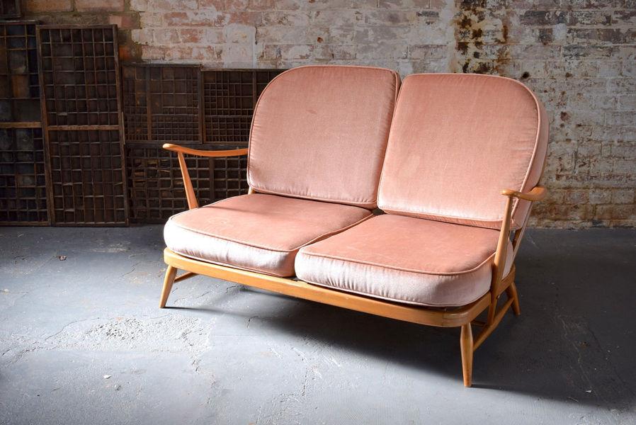 Vintage Retro Mid Century Blonde Ercol Two Seater Windsor Sofa