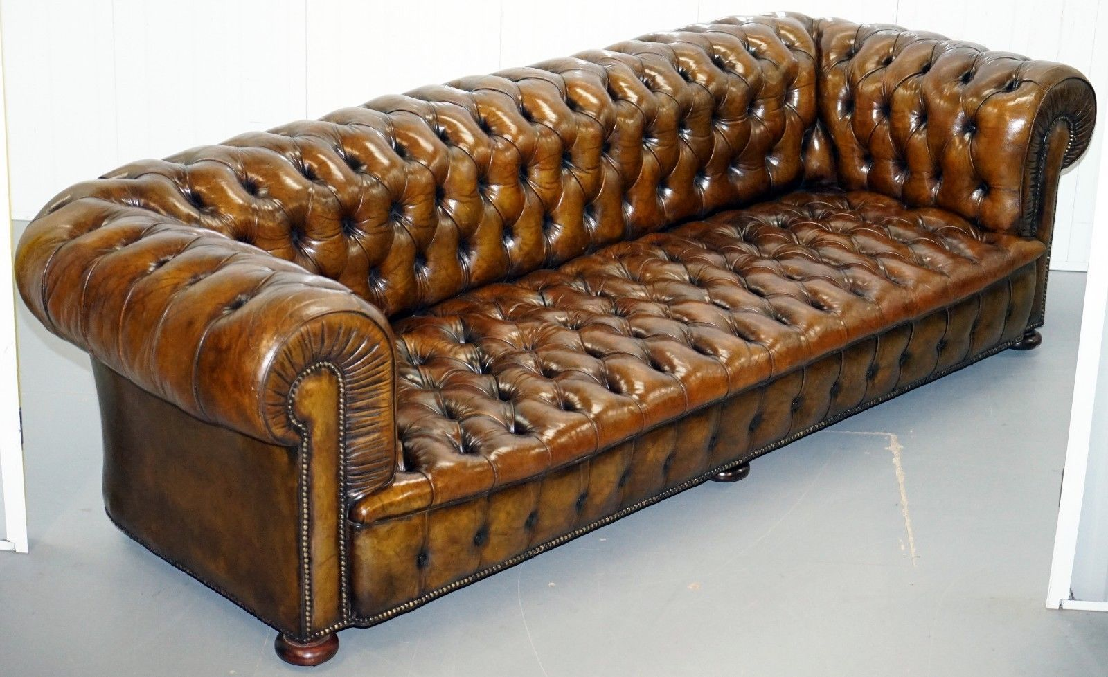 Huge Rare Victorian Horse Hair Fully Restored Brown Leather Chesterfield Sofa