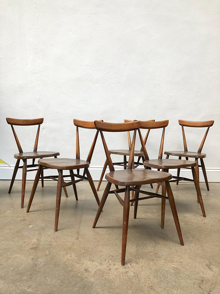 Vintage Set 6 Of Ercol Adult Size Stacking Dining Chairs . Retro Mid Century G Plan