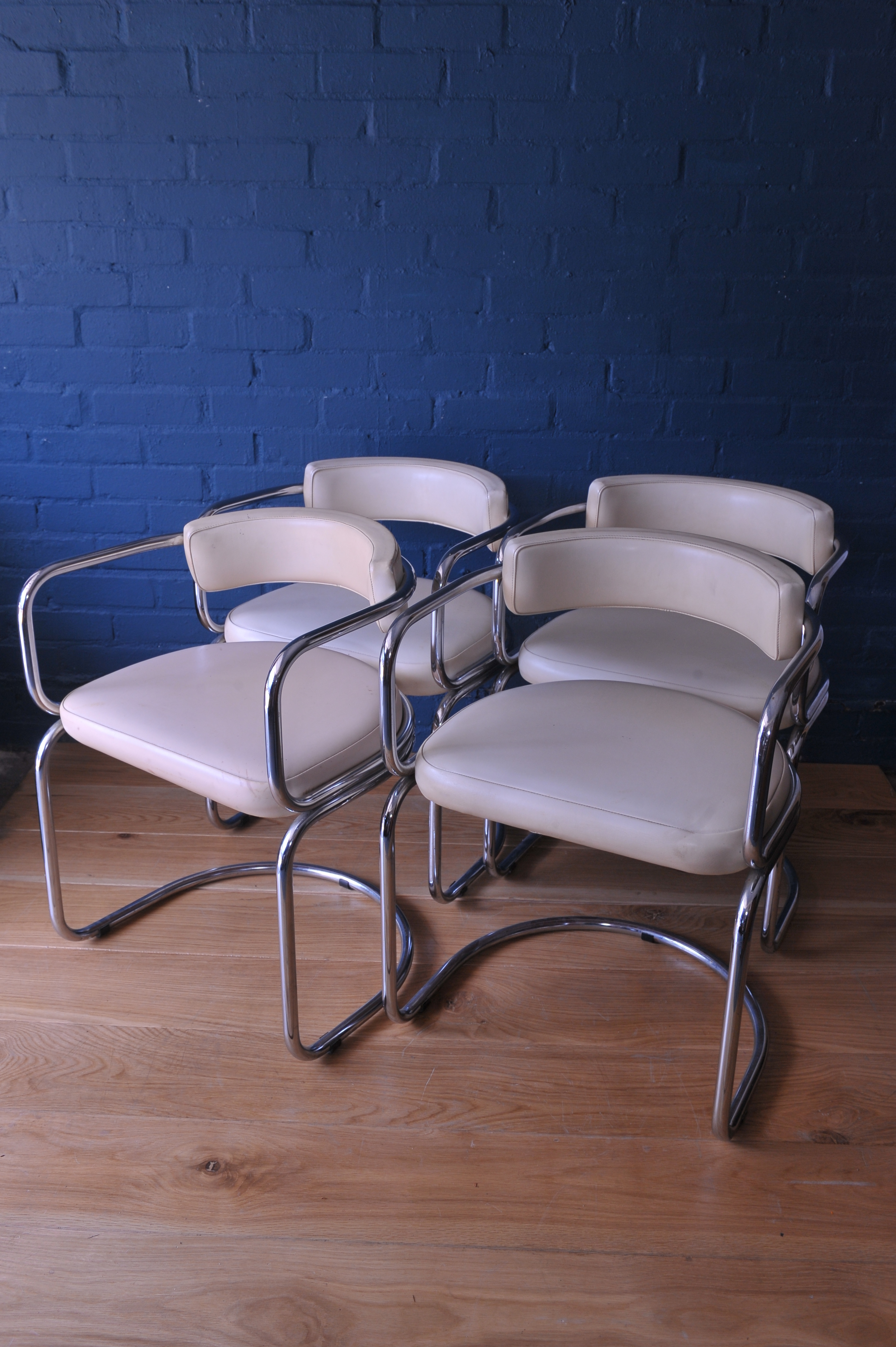 Marvelous Tub Cream And Chrome Leatherette Dining Chairs Mid Century Modern Antonz Thonet Style Ibusinesslaw Wood Chair Design Ideas Ibusinesslaworg