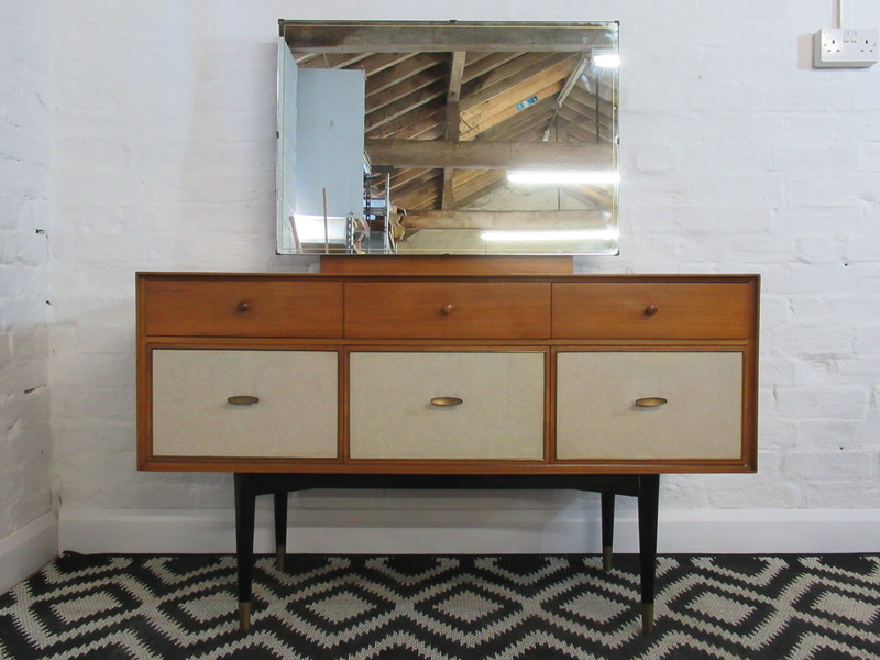 Mid Twentieth Century Wrighton Light Teak Six Drawer Dressing Table With Mirror