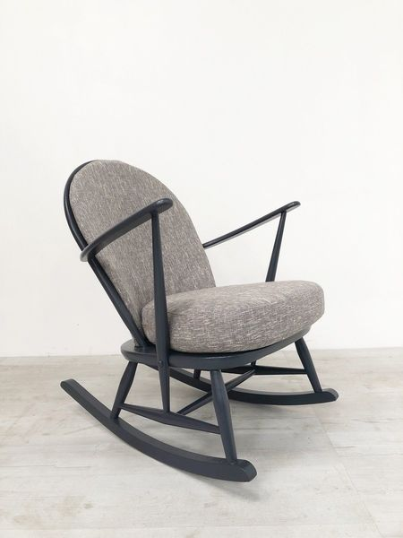 Ercol Windsor Vintage 1960 S Rocking Chair In Graphite Grey With New Cushions