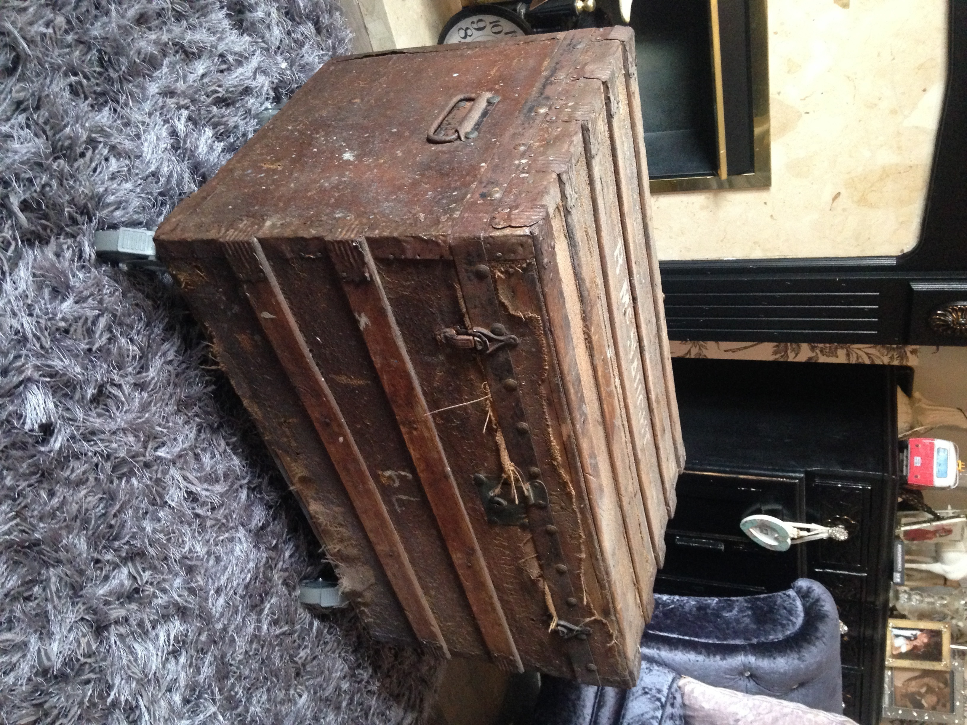 Antique Shabby Chic Steamer Trunk With Wheels Fitted Use As Coffee Tablestorage