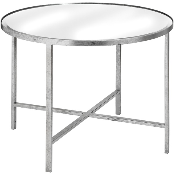 Large Mirrored Silver Side Table Round Coffee Table Occasional Table Metal And Glass Table Art Deco Style Table
