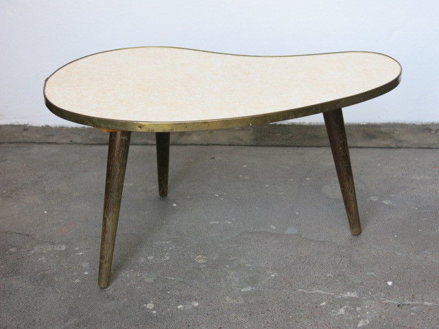 Vintage Mid Century Patterned East German 20th Century Kidney Plant Table/Stand