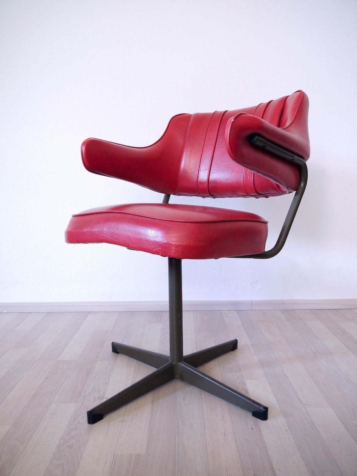 Leather Danish Mid Century Swivel Chair Cherry Red Vintage 1950 S Art Deco Design Industrial Metal