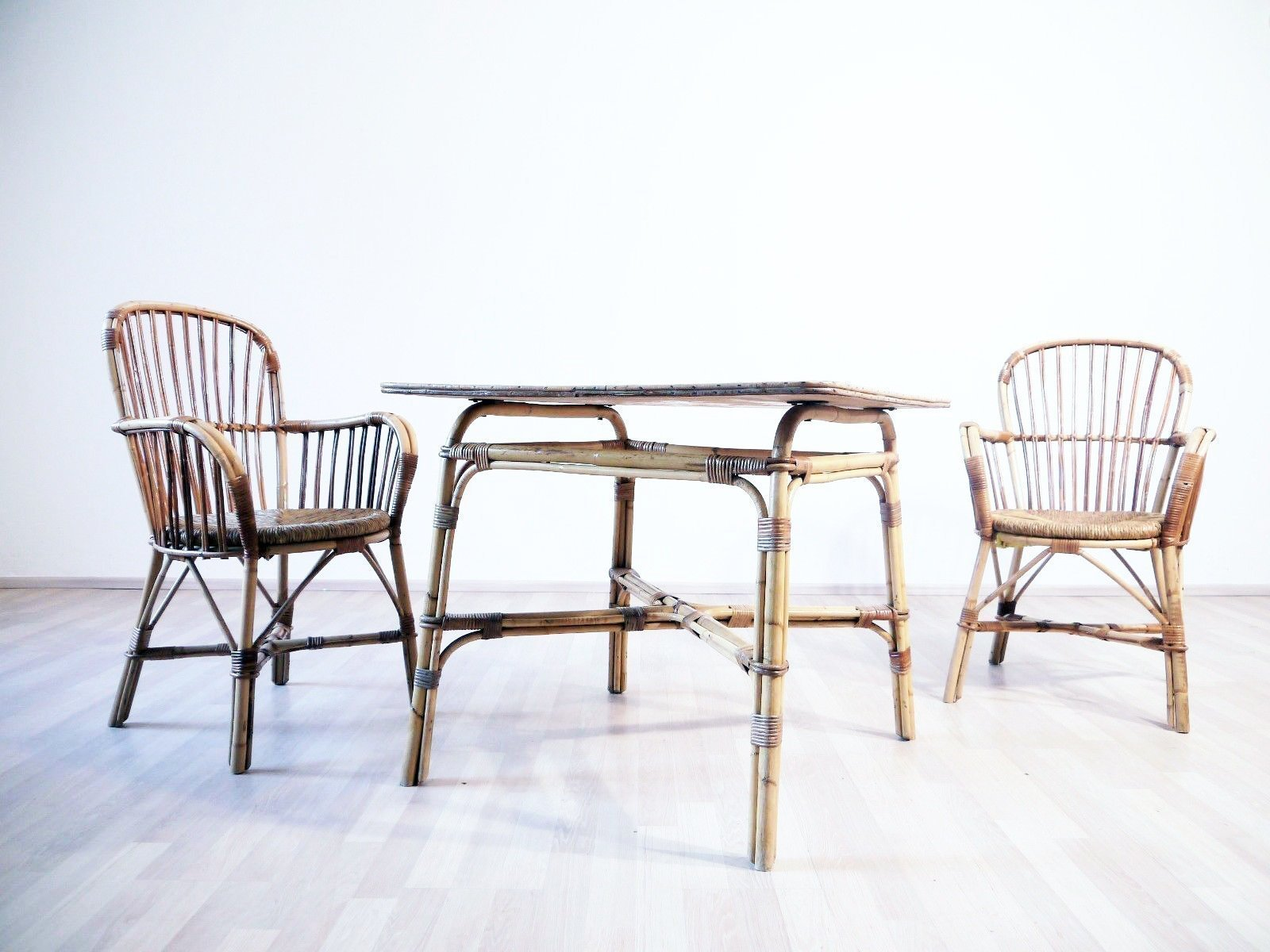 Surprising Vintage Mid Century 1960S Bamboo Outdoor Garden Furniture Terrace Chairs With Matching Table Interior Design Ideas Apansoteloinfo