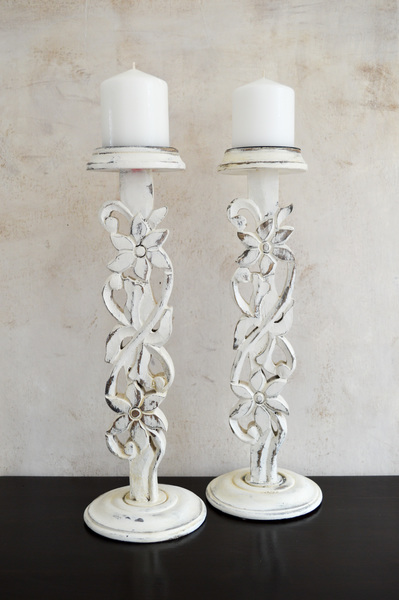 Pair Of Carved Candlesticks Holders, Tall Solid Wood French Shabby Chic, Wood Candle Holder, White Washed Hand Painted, Centrepiece Table