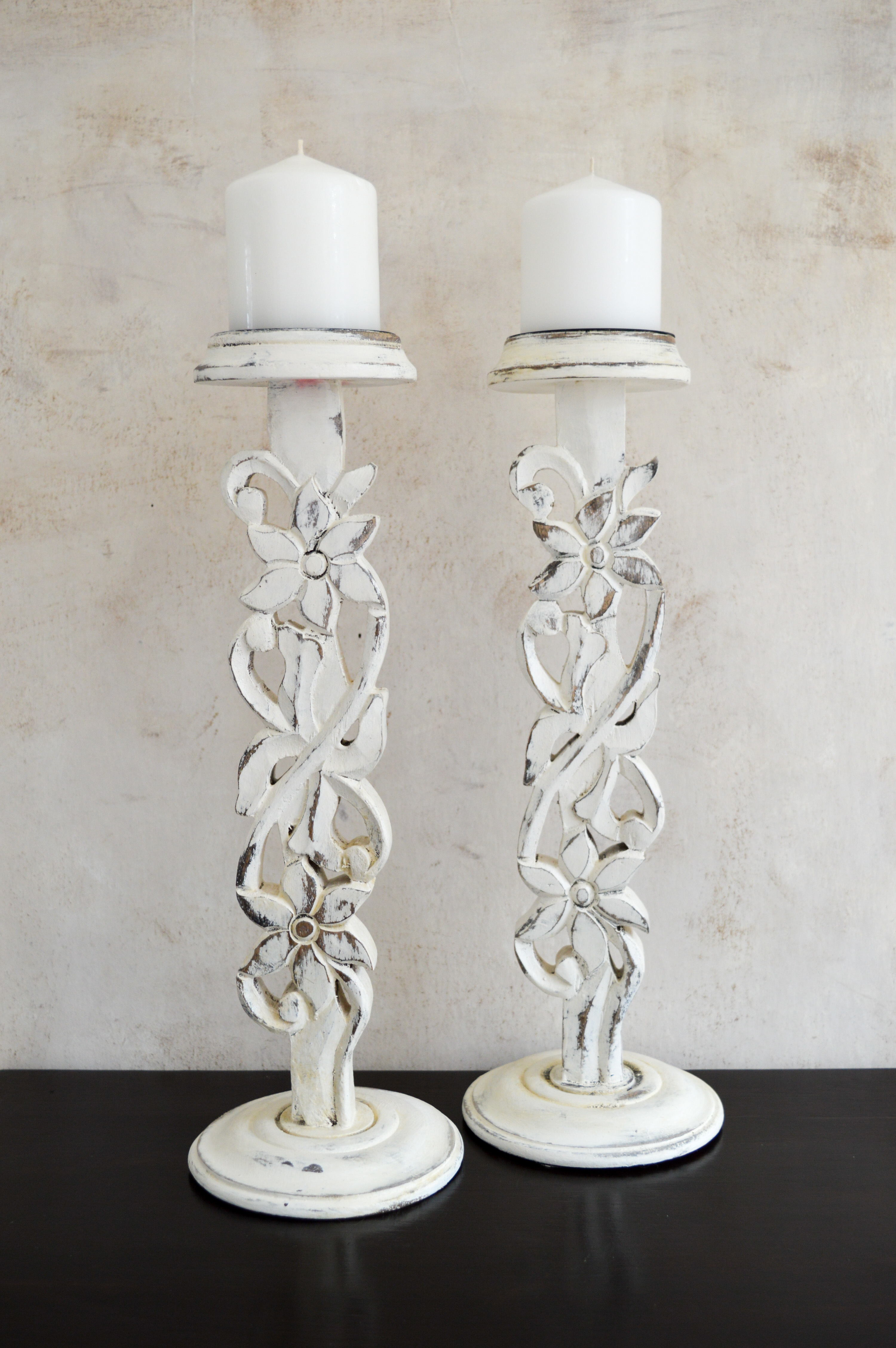 Pair Of Carved Candlesticks Holders Tall Solid Wood French Shabby Chic Wood Candle Holder White Washed Hand Painted Centrepiece Table La Maison Shabby Chic Vintage Vinterior