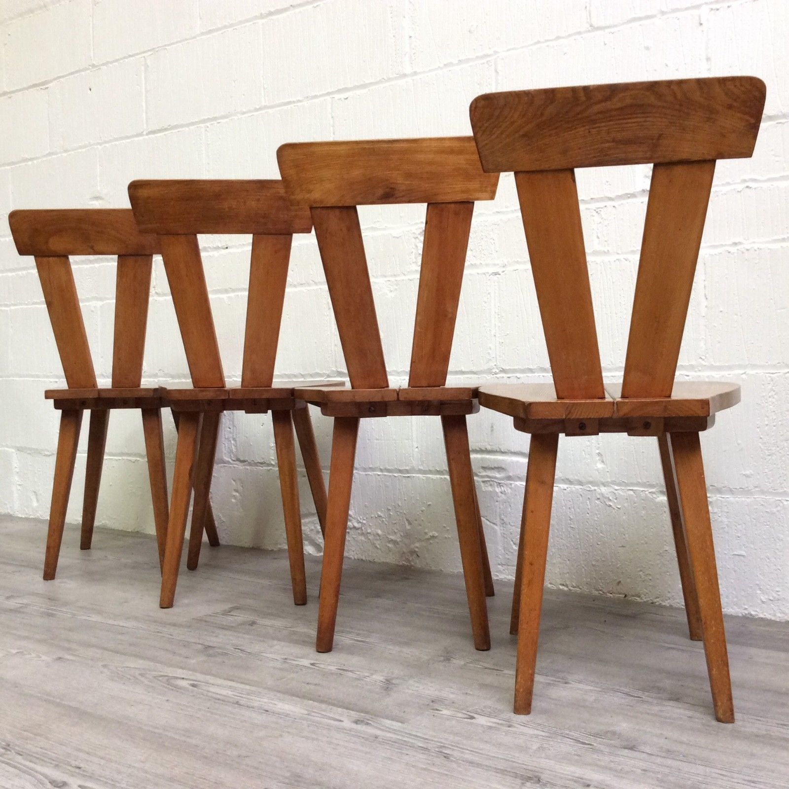 A Set Of 4 Polish Arts Crafts Dining Chairs Dated 1946 By Wincze
